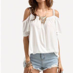 Tops - Open shoulder lace trim cami